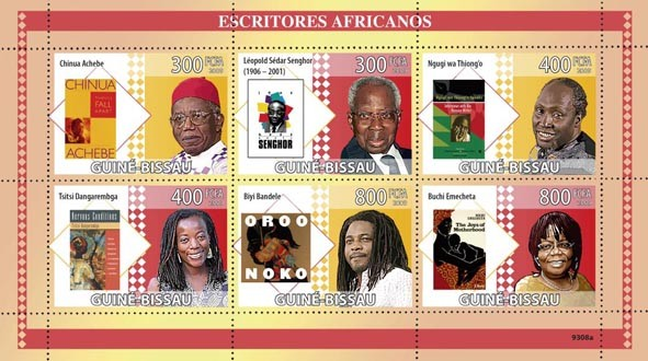 Writers of Africa (C.Ashebe, A.S.Senghor, N.wa Thiong?タルo, T.Dangarembga, B.Bandele, B.Emecheta) - Issue of Guinée-Bissau postage stamps
