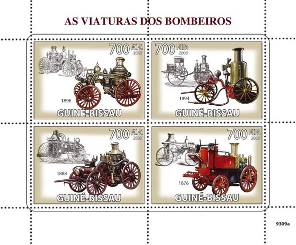 Old Fire engines - Issue of Guinée-Bissau postage stamps