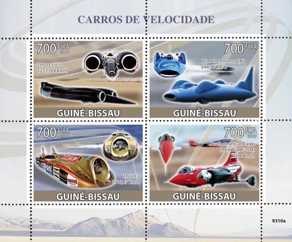 Fastest Cars (Thrusts SSC, Blue Bird-Proteus CN7, Thrust 2, North America Eagle) - Issue of Guinée-Bissau postage stamps