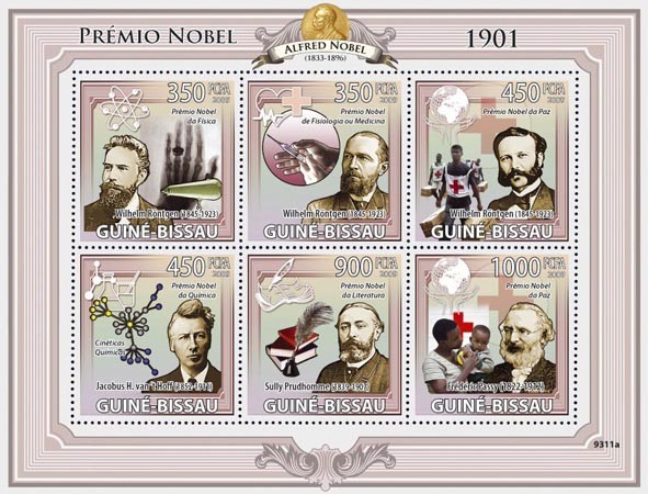 Nobel Prize 1901 (W.Rontgen, J.H.van?タルt Hoff, S.Prudhomme, F.Passy Red Cross) - Issue of Guinée-Bissau postage stamps