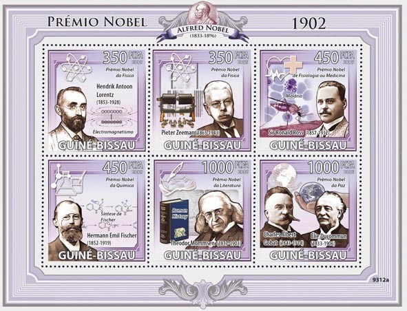 Nobel Prize 1902 (H.A.Lorentz, P.Zeeman, R.Ross, H.E.Fisher, T.Mommsen, C.A.Gobat & E.Ducommun) - Issue of Guinée-Bissau postage stamps