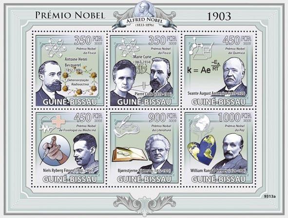 Nobel Prize 1903 (A.H.Becquerel, M.&P.Curie, S.A.Arrchenius, N.R.Finsen, B.Bjornson, W.R.Cremer) - Issue of Guinée-Bissau postage stamps