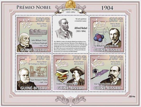 Nobel Prize 1904 (J.W.Strutt, W.Ramsay, I.P.Pavlov, F.Mistral, J.Elzaguire) - Issue of Guinée-Bissau postage stamps