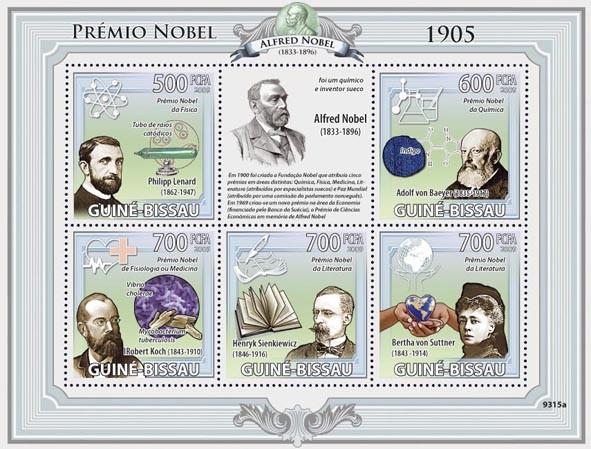 Nobel Prize 1905 (P.Lenard, A.von Baeyer, R.Koch, H.Sienkiewicz, B.von Suttner) - Issue of Guinée-Bissau postage stamps