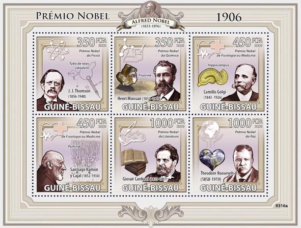 Nobel Prize 1906 (J.J.Thomson, H.Moissan, C.Golgi, S.Ramon, G.Carducci, T.Roosvelt) - Issue of Guinée-Bissau postage stamps