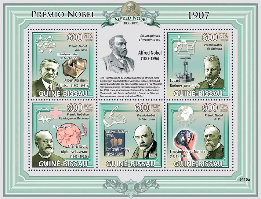 Nobel Prize 1907 ( A.A.Michelson, E.Buchner, C.L.A.Laveran, R.Kipling, E.T.Moneta ) - Issue of Guinée-Bissau postage stamps