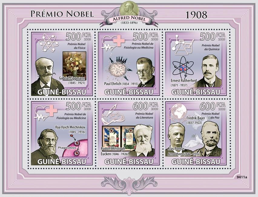 Nobel Prize 1908 ( G.Lippmann, P.Ehrlich, E.Rutherford, I.I.Mechnikov, R.Christoph, F.Bajer & K.P.Arnoldson ) - Issue of Guinée-Bissau postage stamps