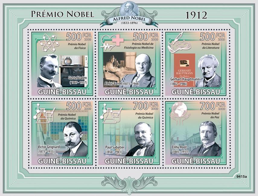 Nobel Prize 1912 ( G.Dalen, A.Carrel, G.Hauptmann, V.Grignard, P.Sabatier, E.Root ) - Issue of Guinée-Bissau postage stamps