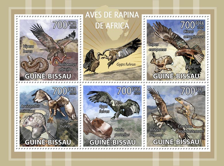 African birds of prey - Issue of Guinée-Bissau postage stamps