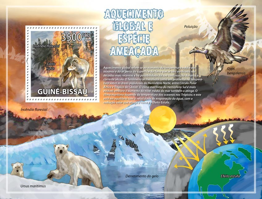 Global warming & endangered animals - Issue of Guinée-Bissau postage stamps