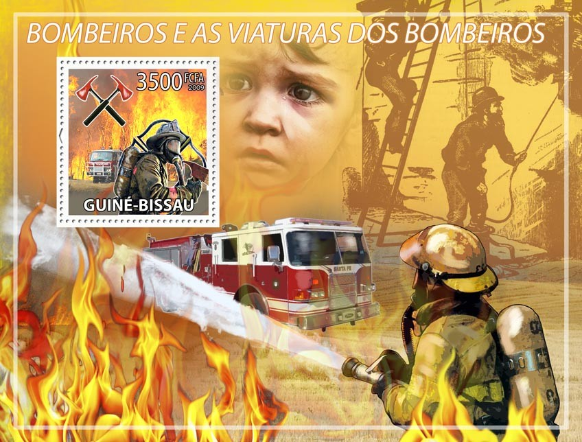 Fire engines & firemen - Issue of Guinée-Bissau postage stamps