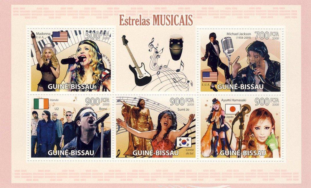 Famous Musicians - Issue of Guinée-Bissau postage stamps