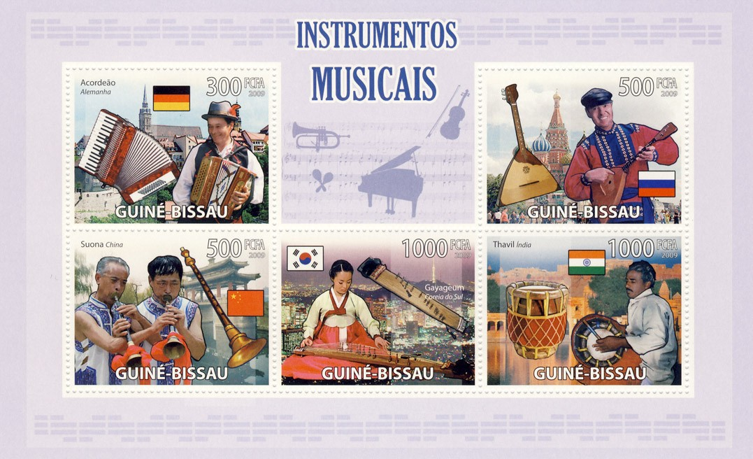 Musical instruments - Issue of Guinée-Bissau postage stamps