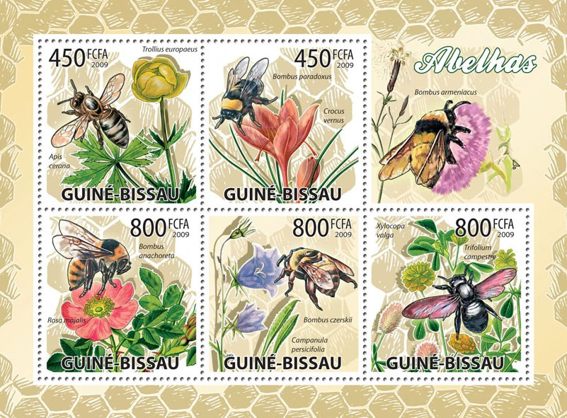 Bees & Flowers - Issue of Guinée-Bissau postage stamps