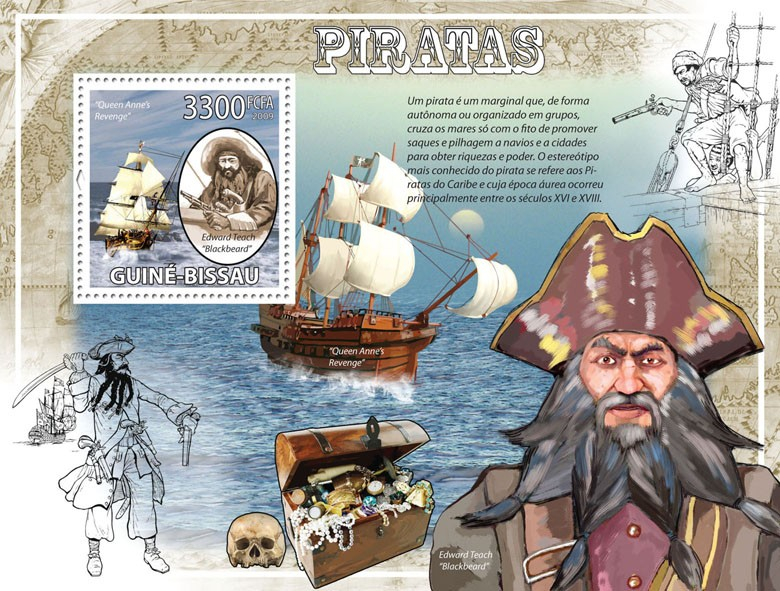 Pirates & Ships - Issue of Guinée-Bissau postage stamps
