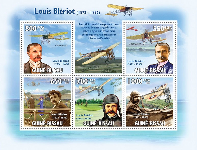 Luis Bleriot ( 1872-1936 ) & Planes - Issue of Guinée-Bissau postage stamps