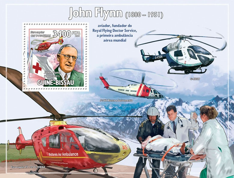 John Flynn ( 1880-1951 ), Helicopters & Red Cross - Issue of Guinée-Bissau postage stamps