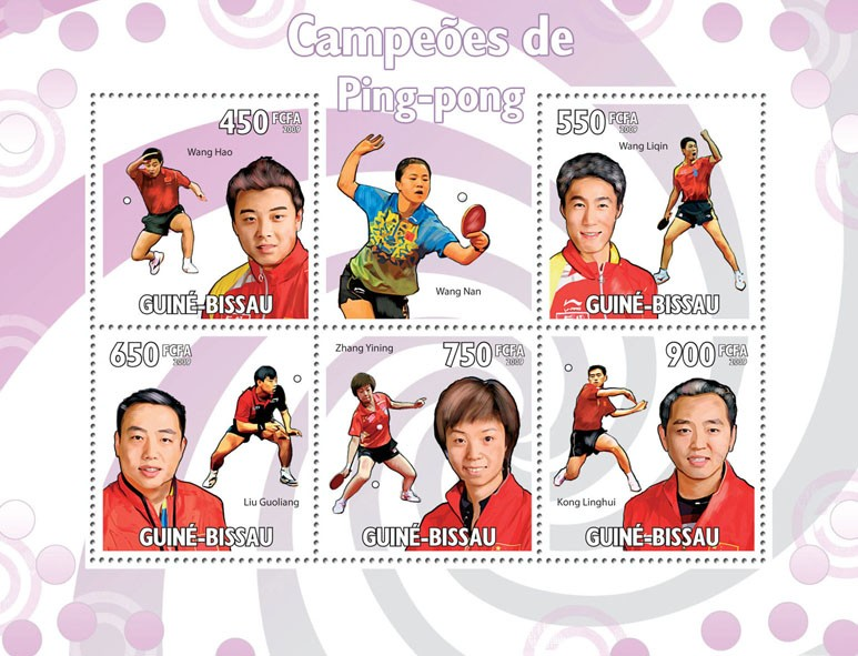 Table Tennis Champions - Issue of Guinée-Bissau postage stamps