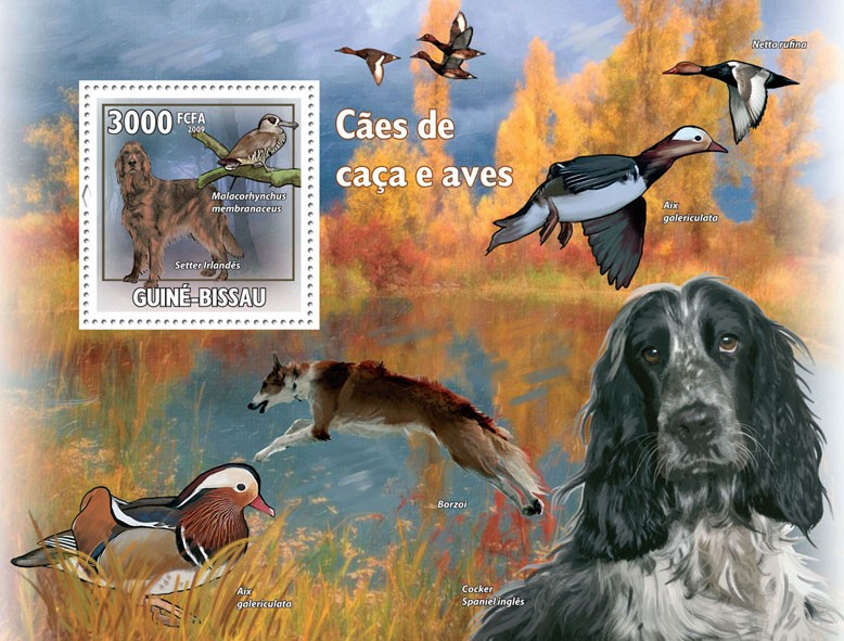 Hunting Dogs & Birds - Issue of Guinée-Bissau postage stamps