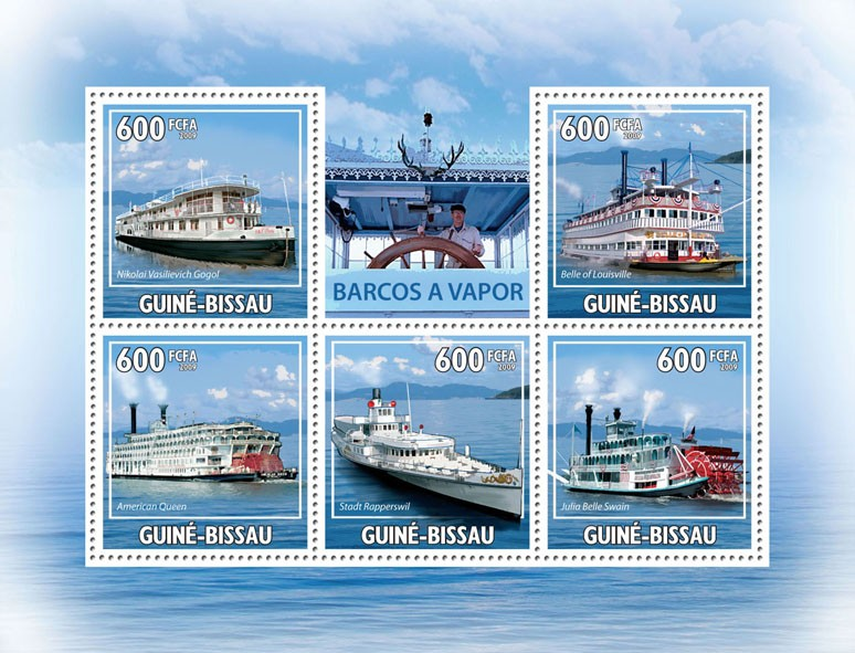 Steamboats - Issue of Guinée-Bissau postage stamps