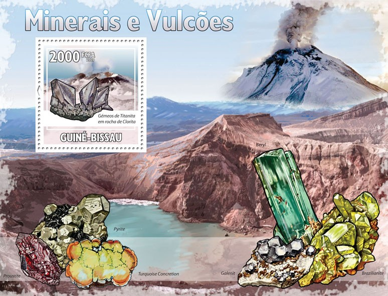 Minerals & Volcanoes - Issue of Guinée-Bissau postage stamps
