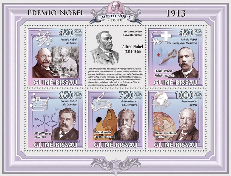 Nobel Prize 1913 - Issue of Guinée-Bissau postage stamps