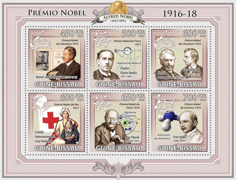 Nobel Prize 1916 -1918 - Issue of Guinée-Bissau postage stamps