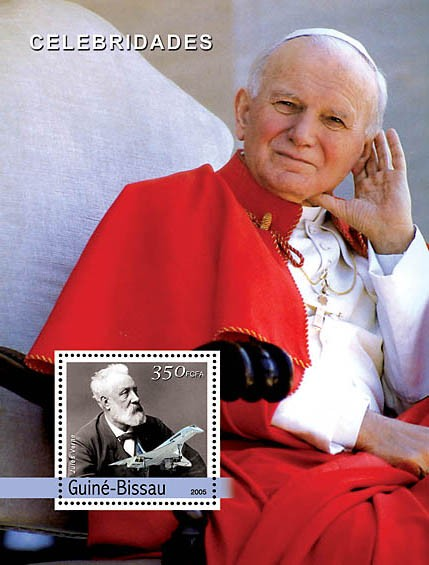 Pope John Paul II & Jules Verne, Concorde - Issue of Guinée-Bissau postage stamps