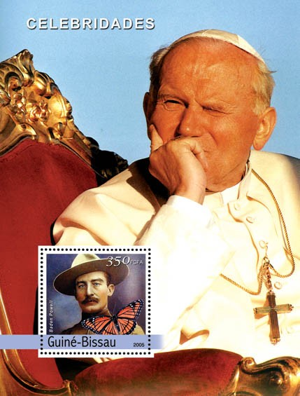 Pope John Paul II & B. Powell, butterfly - Issue of Guinée-Bissau postage stamps