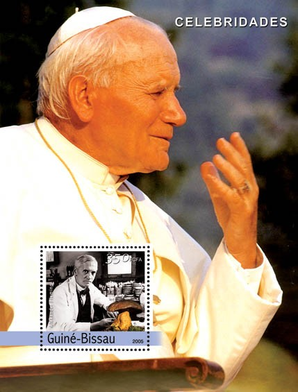 Pope John Paul II & Fleming, mushroom - Issue of Guinée-Bissau postage stamps