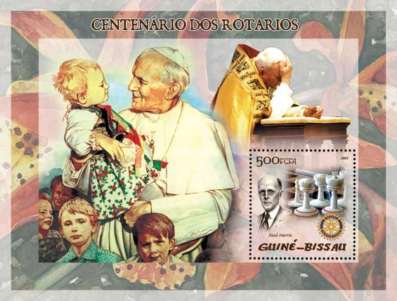 Pope John Paul II & P. Harris, chess - Issue of Guinée-Bissau postage stamps