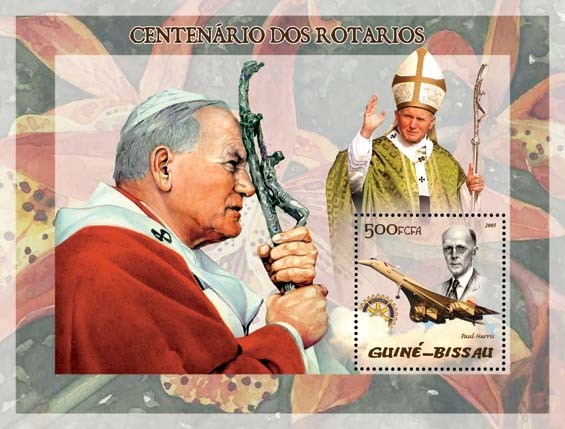 Pope John Paul II & P. Harris, Concorde - Issue of Guinée-Bissau postage stamps
