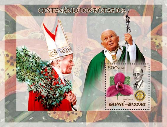 Pope John Paul II & P. Harris, orchid left - Issue of Guinée-Bissau postage stamps