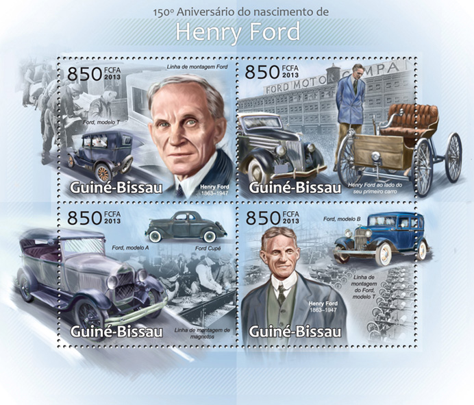 Henry Ford, (150th Anniversary) - Issue of Guinée-Bissau postage stamps