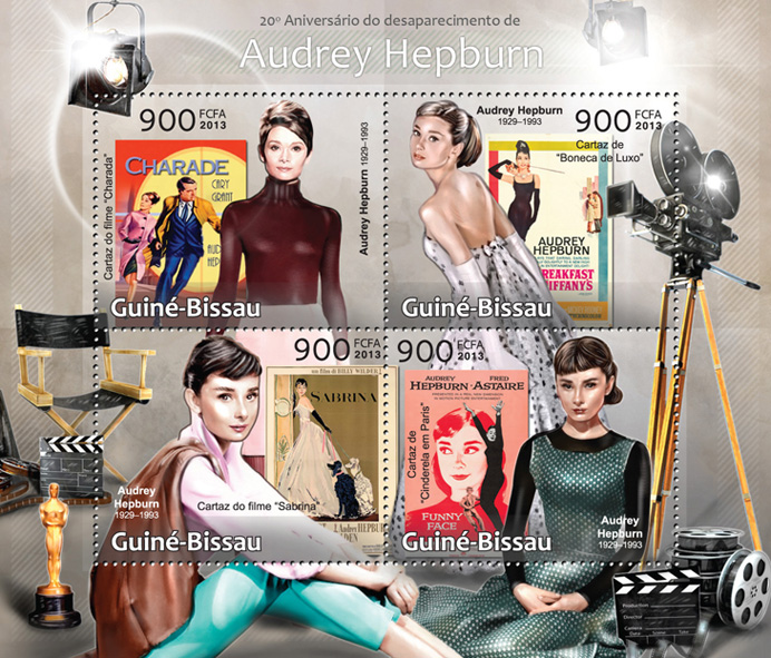 Audrey Hepburn - Issue of Guinée-Bissau postage stamps