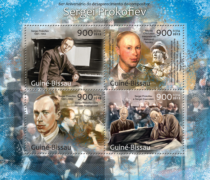 Sergei Prokofiev - Issue of Guinée-Bissau postage stamps