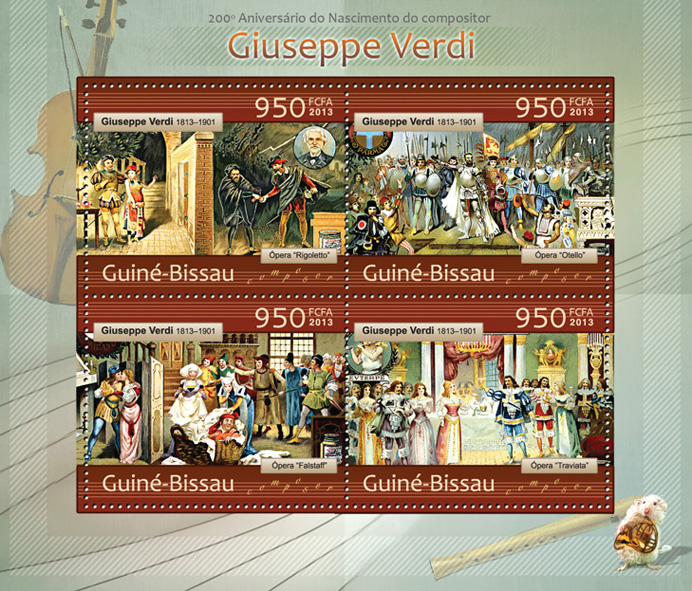 Giuseppe Verdi - Issue of Guinée-Bissau postage stamps