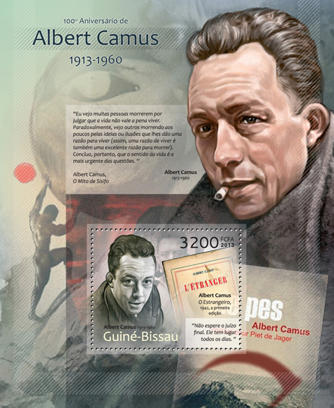 Albert Camus - Issue of Guinée-Bissau postage stamps