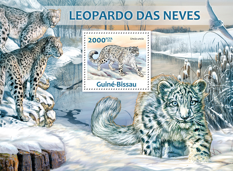 Snow leopard - Issue of Guinée-Bissau postage stamps