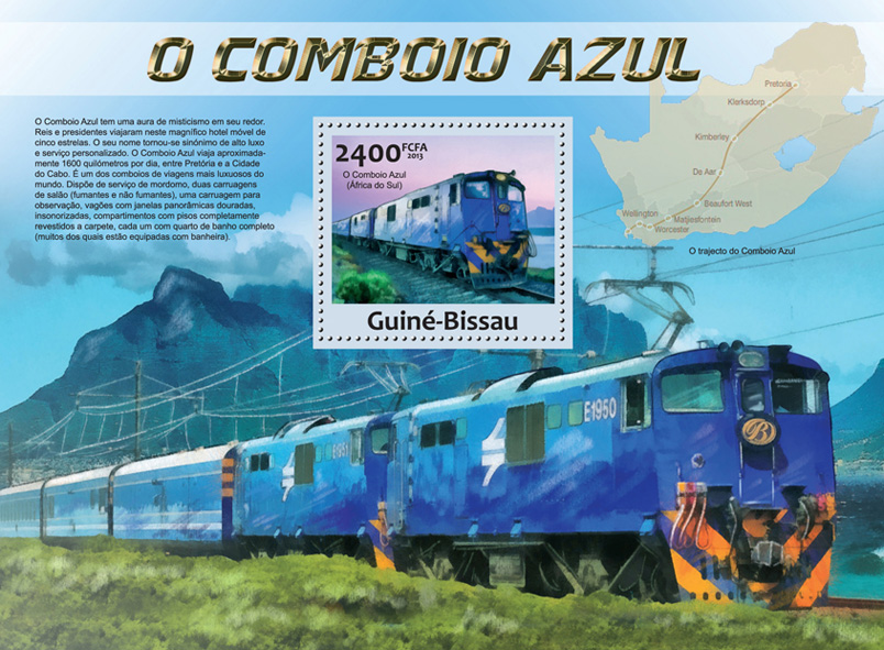 The Blue Train - Issue of Guinée-Bissau postage stamps