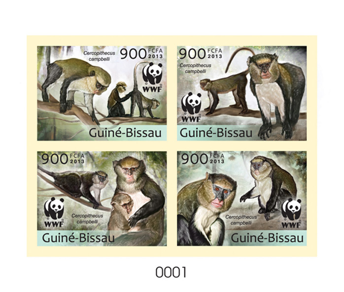WWF - Monkeys - Issue of Guinée-Bissau postage stamps