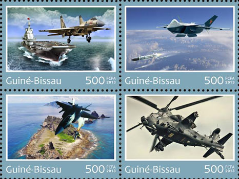 China air force - Issue of Guinée-Bissau postage stamps