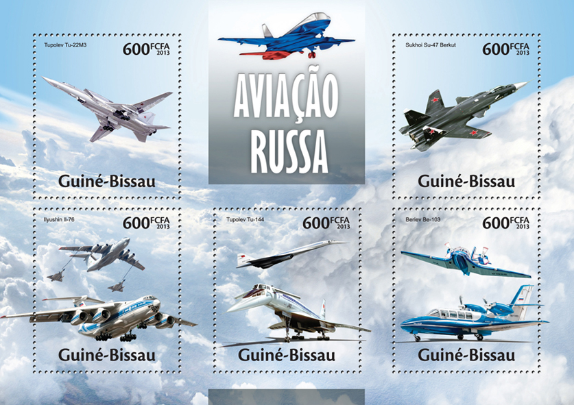 Russian Aviation - Issue of Guinée-Bissau postage stamps