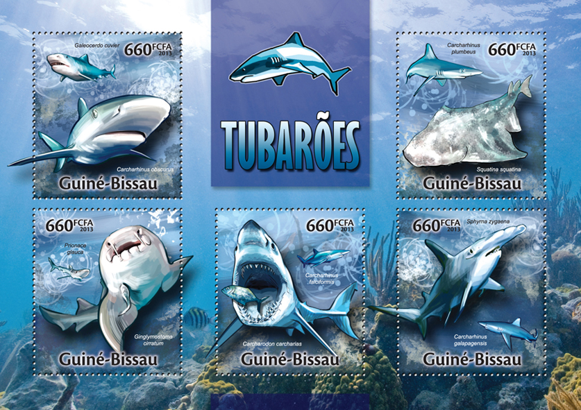 Sharks - Issue of Guinée-Bissau postage stamps