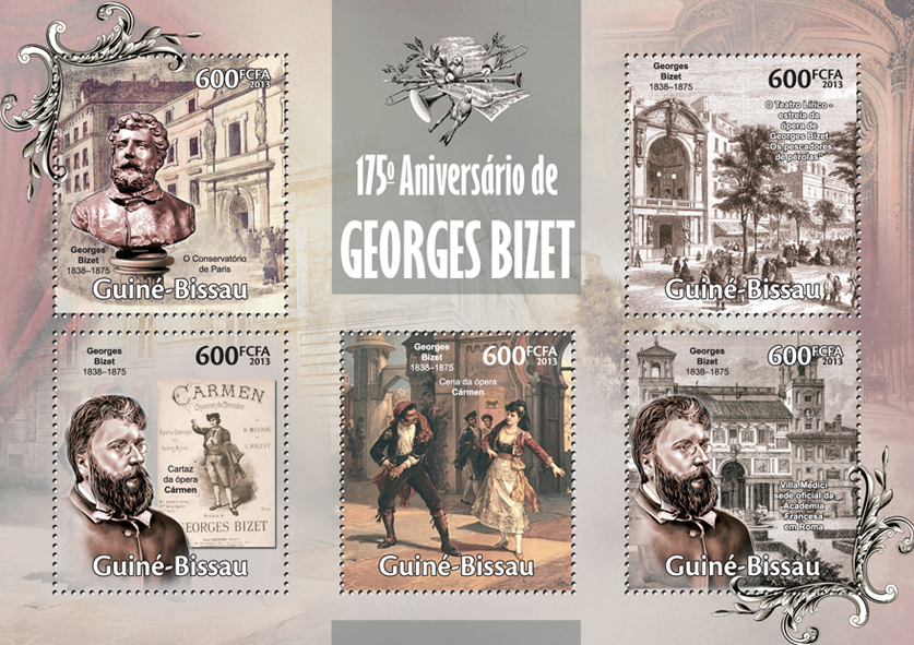 Georges Bizet - Issue of Guinée-Bissau postage stamps