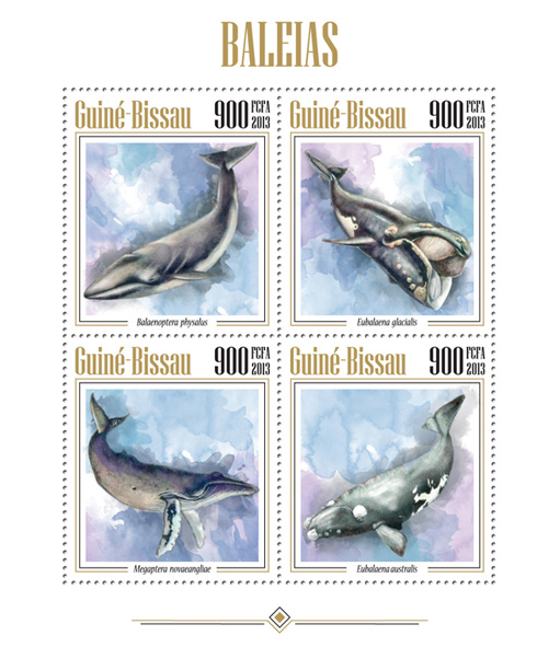 Whales - Issue of Guinée-Bissau postage stamps