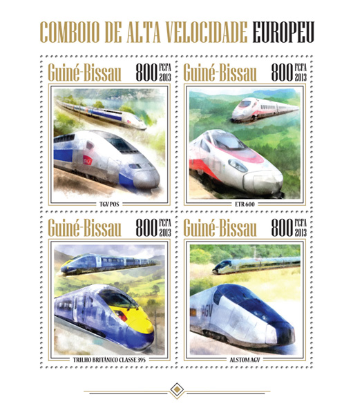 Trains - Issue of Guinée-Bissau postage stamps