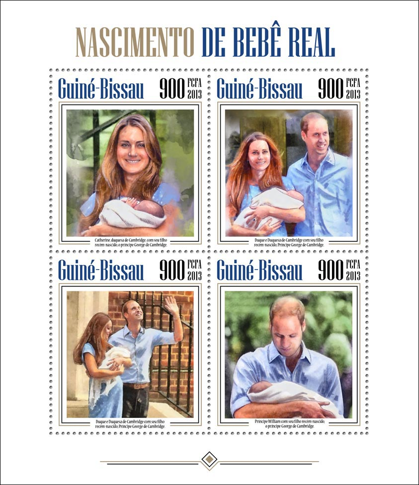 Royal Baby Prince George Alexander Louis - Issue of Guinée-Bissau postage stamps