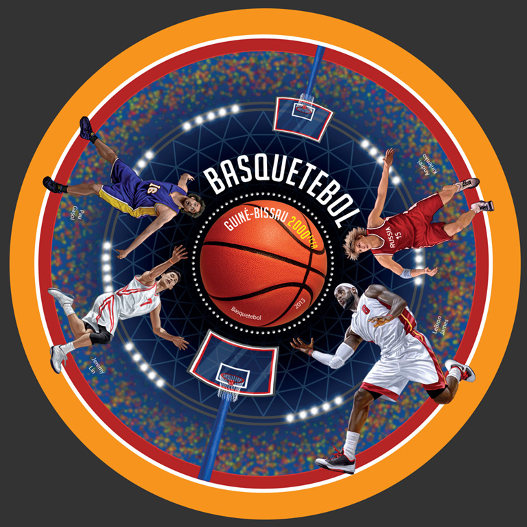 Basketball - Issue of Guinée-Bissau postage stamps