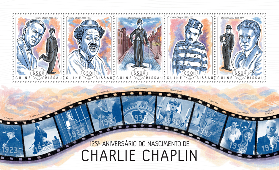 Charlie Chaplin - Issue of Guinée-Bissau postage stamps